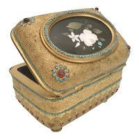 "Antique Bronze Jeweled Pietra Dura Casket Hinged Box ~ Magnificent Footed Base ~ Fabulous 3"" Oval Pietra Dura Plaque"
