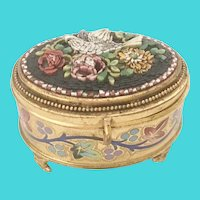 Antique Italian Grand Tour Micro Mosaic Enamel Casket Hinged Box ~ Grandest Little Bird and Flowers ~  Lovely Footed Base