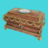 19C Kingwood Bronze Mounted Casket Hinged Box  ~Stunning  Bronze Mounts ~ BIG PORCELAIN SEVRES PLAQUE