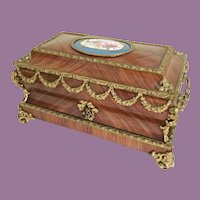 19C Kingwood Bronze Mounted Casket Hinged Box  ~Stunning  Bronze Mounts ~ BIG PORCELAIN SEVRES PLAQUE