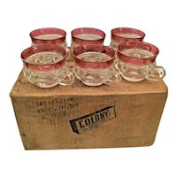 12 Indiana Colony Glass Clear Ruby Flash Band Kings Crown Cups ~  In the Original Cardboard Box