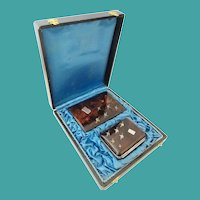 2 PIECE SET 1840 Faux Tortoise Shell Set wBird Decorations  in Original Presentation Case ~  Purse and Notebook ~ Magnificent Set