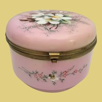 Big Antique Pink Opaline Casket Hinged Box ~ Flower Garden ~ Luscious Pink