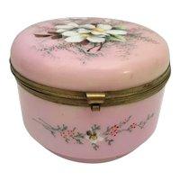 Big Antique Pink Opaline Casket Hinged Box ~ Flower Garden ~ Luscious Pink