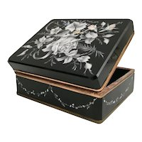 """8"""" Antique Bohemian Casket Hinged Box ~  Awesome Hand Enamel White Flowers w a  Draped Flower Garland Circling the Four Sides ~ Ornate Gilt Mounts"""