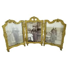 Antique French Gilt Bronze Triple Frame ~  Ready with Glass for Your Photos ~  RARE and BEAUTIFUL!