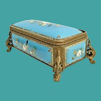 Antique Jeweled French kiln-fired Enamel Casket Hinged Box ~ 19C Blue Enamel w Luscious White Flowers and Elegant Bronze Feet
