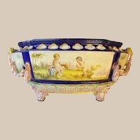 """Antique English Porcelain """"Putti"""" Bowl with RARE Figural Handles ~  Playful Winged Cherubs """"Putti"""" ~ MAGNIFICENT, BIG and EXQUISITE CENTER BOWL"""