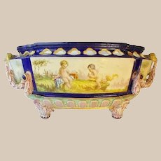 "Antique English Porcelain ""Putti"" Bowl with RARE Figural Handles ~  Playful Winged Cherubs ""Putti"" ~ MAGNIFICENT, BIG and EXQUISITE CENTER BOWL"