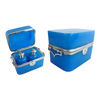 Antique French Blue Opaline Double Handle Scent Casket Box Big Silver Gilt Bronze Handles ~ Fitted with Two Opaline Scent Bottles ~  Awesome Color, and Size