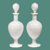 "14 ½""  White  Apothecary Perfume Bottles ~ Stunning and RARE!"