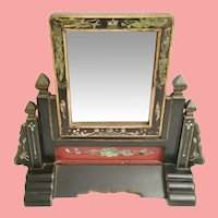 Antique Japanese Vanity Table Top Mirror Red and Black w Abalone Accents ~ A Delightful Charming Painted Vanity Top Mirror