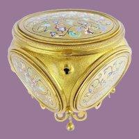 Fancy Diamond Shape 19C Bronze Box ~  Five Champlevé Enamel Plaques ~ Exquisite Footed Base ~ The Heavenly Plaques are Breathtaking~ FABULOUS Colors.
