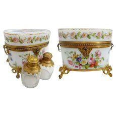 1850 Baccarat Hand painted  Opaline Scent Casket Two Large Scent Bottles with Beautiful Ornate Tops ~ THE BEST! THE RAREST! Baccarat Scent Casket