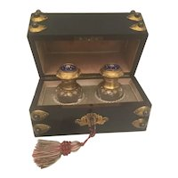 Awesome Antique French Ebonized Dome Top Jeweled Scent Casket  ~ Twin Exquisite Bottles with Jeweled Enamel Tops