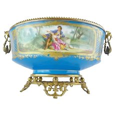 """19 ½"""" Antique Porcelain Center Bowl Flowers and Wonderful Gilding ~ Extraordinary Footed Base ~ A Masterpiece ~  Save a Special Place for it!"""