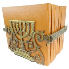 1950 Encyclopedia  of  ISRAEL  8 VOLUMES in a Stunning Brass Rack Stand