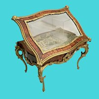 """Glorious  15 ½"""" Antique French Faux Tortoise (Miniature Vitrine Curio ~ Exquisite Dore' Bronze Mounts and Display Key"""