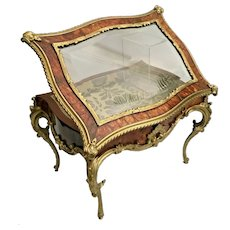 "Glorious  15 ½"" Antique French Faux Tortoise (Miniature Vitrine Curio ~ Exquisite Dore' Bronze Mounts and Display Key"