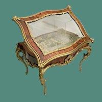 "Glorious  15 ½"" Antique French Tortoise (Miniature Vitrine Curio ~ Exquisite Dore' Bronze Mounts and Display Key"