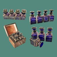 "Antique Scent Casket "" Fabulous Cobalt Bottles""  ~  4 Luscious Cobalt Bottles w Heavy Fancy Gilding"