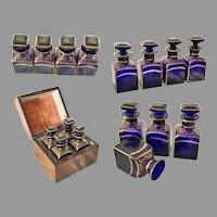 """Antique Scent Casket """" Fabulous Cobalt Bottles""""  ~  4 Luscious Cobalt Bottles w Heavy Fancy Gilding"""