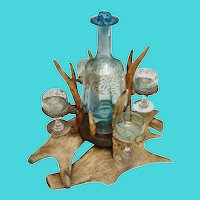 Antique Moser Antler Liquor Set ~ Fabulous Moser Blue Glass Decanter w Four Stem Glasses Nestled in an Arrangement Holder of Antlers