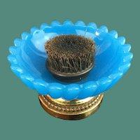 Antique French Pen Brush Nib Cleaner~ Wonderful BLUE Opaline