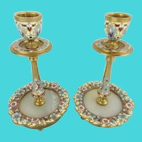 Antique French Champlevé Candle Holders ~ Stunning Champlevé with an Onyx Insert  ~  Colors of Sky Blue, Cobalt, Burgundy, and Sunshine Yellow…Flowers Circle the Onyx Insert.