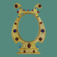 """Antique 9 ½"""" Austrian  Jeweled """"Red and Turquoise Gems""""  Table Top Frame ~ Good Heavy Easel Stand  ~ Ready for Your  Photo"""