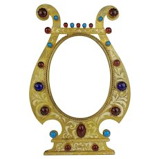 "Antique 9 ½"" Austrian  Jeweled ""Red and Turquoise Gems""  Table Top Frame ~ Good Heavy Easel Stand  ~ Ready for Your  Photo"