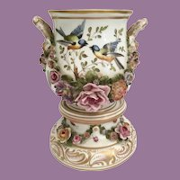 19C Double Handle Hand painted Porcelain Cachepot with Matching Stand. Birds, Butterflies, and Bugs ~ AWESOME Applied Flowers