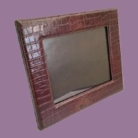 """14"""" Faux Alligator/Crocodile Table Top Picture Frame ~  Wonderful Frame Ready to Display Your Prized Photo ~ Easel Back Stand is Sturdy."""