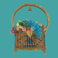 1920 Czechoslovakia Glass Flower Lamp  ~ Absolutely Exquisite Amber and Blue Glass Beaded Basket w/Glass Flowers, Grapes and Leaves ~Base Stamped