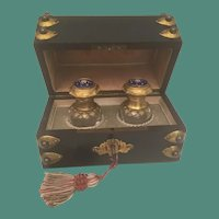 Fabulous Antique French Scent Casket ~ Ebonized Dome Top Jeweled Scent Casket w/Twin Exquisite Bottles w/ Jeweled Enamel Tops