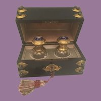 Antique French Scent Casket ~ Ebonized Dome Top Jeweled Scent Casket w/Twin Exquisite Bottles w/ Jeweled Enamel Tops