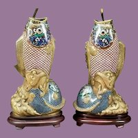 """Antique 32"""" Chinese Cloisonné Fish Lamps. Gorgeous Fish Vases  ~ Superior Quality and Exquisite Made Lamps"""