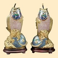 "Antique 32"" Chinese Cloisonné Fish Lamps. Gorgeous Fish Vases  ~ Superior Quality and Exquisite Made Lamps"