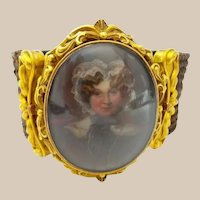 18KARAT Yellow Gold Hand painted Portrait in an Ornate Bezel ~ Wear as a Brooch or Convert to a Hair Bracelet with the Grandest Woven Hair