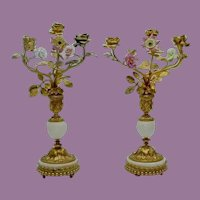 """PAIR of 14"""" Antique French Bronze Marble Candelabras ~ Porcelain Flowers and Gilt Bronze Leaves. Very Fine Elaborate Dore' Bronze"""