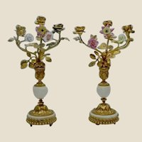 "PAIR of 14"" Antique French Bronze Marble Candelabras ~ Porcelain Flowers and Gilt Bronze Leaves. Very Fine Elaborate Dore' Bronze"