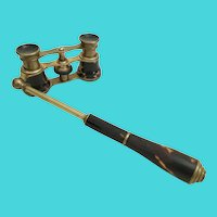 Antique Faux Tortoise Opera Glasses with a Telescoping Handle ~ RARE and TINY O