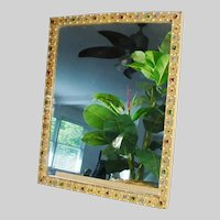 """15 ½"""" Austrian Jeweled Table Top Vanity Mirror or Picture Frame"""