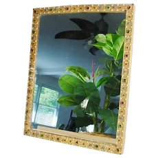 """GRANDEST  1900 15 ½"""" Austrian Jeweled Table Top Vanity Mirror or Picture Frame"""