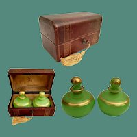 Beautiful Antique Leather Scent Casket  ~ Two Very Fine Green Opaline Scent Bottles
