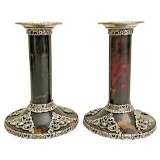 Antique Faux Tortoise and Sterling Candlesticks ~  Absolutely EXQUISITE and Very Fine