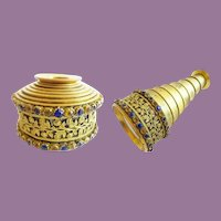 """Antique Jeweled Monocular """"GILT FLORA w/ BLUE & GOLD GEMS ~ Prong Set Blue and Yellow Gems ~ Tuck it in a Pocket to Use or Display it in your Vitrine."""