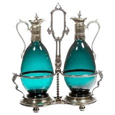 Turquoise Claret Jugs in a Silver Holder Stand ~ Ball Footed Base ~ Twin Decanters