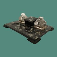 19C English Victorian Papier Mache Double Crystal Ink Pots,  Inkwell, Stamp Box, and Pen Tray