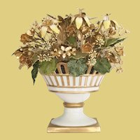 """9 ½"""" Jane Hutcheson Fleurs des Siècles Jeweled Enameled Floral Arrangement ~ Lovely White Porcelain Reticulated Gilded Compote"""